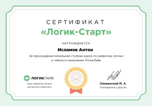 Исламов Антон сертификат
