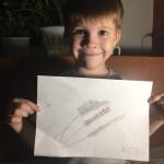 Машкин Антон рисует веточки вербы карандашом