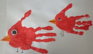 птичка из отпечатка руки